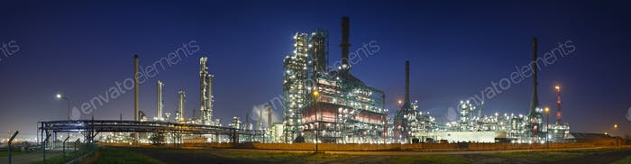 Refinery At Night Panorama