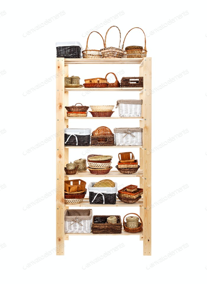 Wooden shelves full of basket