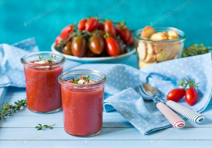 Fresh no-cook soup gaspacho.