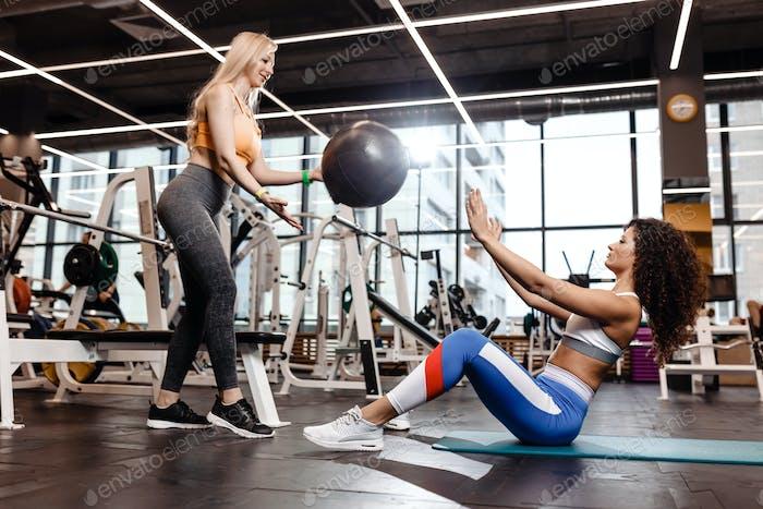 Zwei sportliche Mädchen, die in einer Sportbekleidung gekleidet sind, machen Übungen für die Presse auf der Matte für Fitness