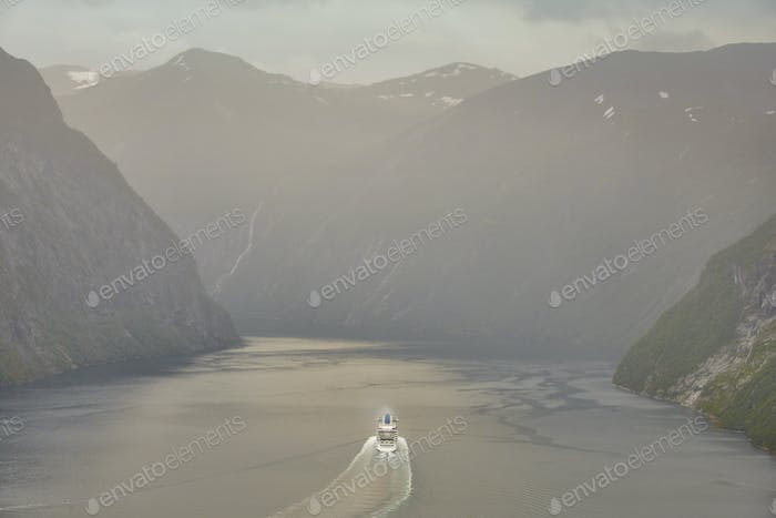 Norwegian fjord landscape. Cruise travel. Travel Norway tourism