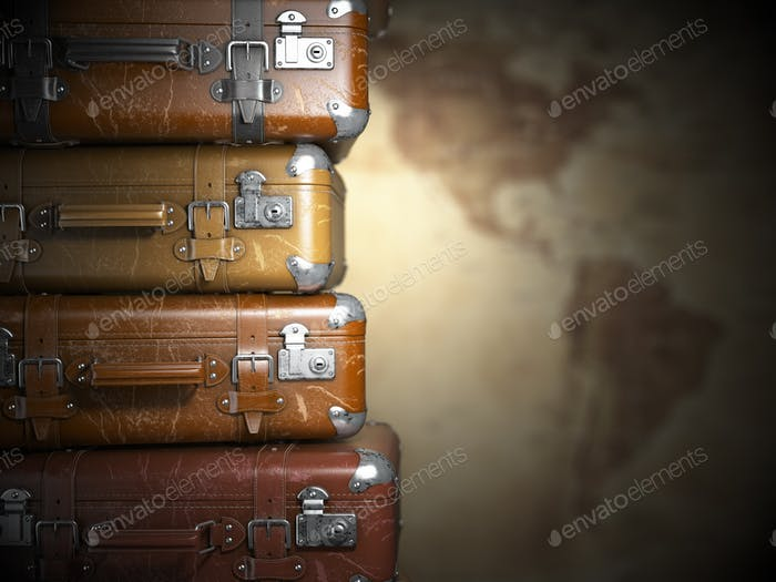 Vintage suitcases on the map of America background.Turism travel
