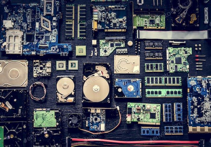 Computer hardware parts flat lay