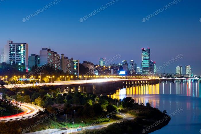 Seoul cityscape in South Korea at night