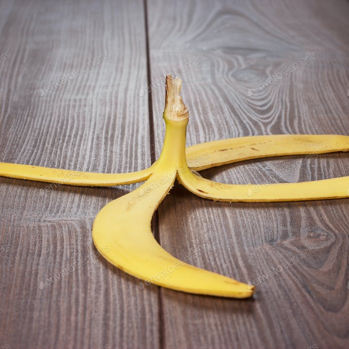 Banana Peel On The Wooden Table