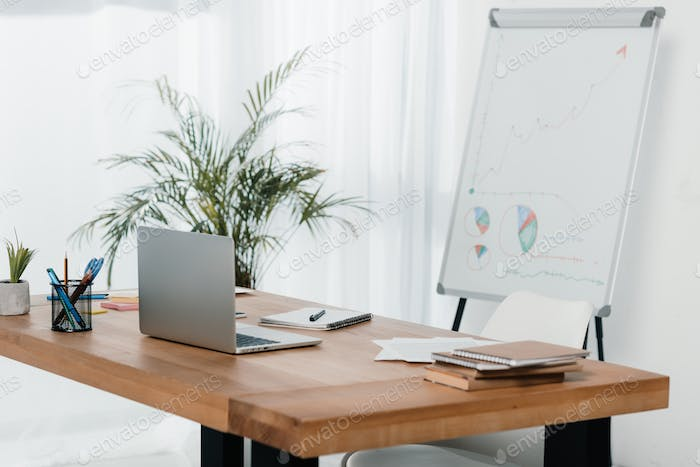 workplace with laptop and office supplies in office with white board