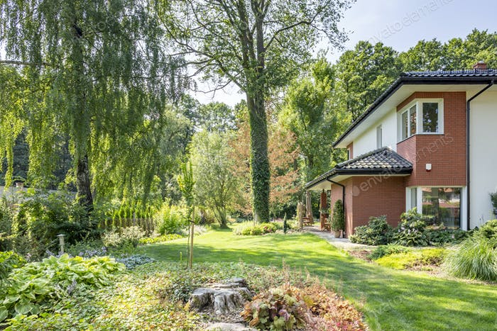 Beautiful garden with trees and shrubs next to a big house. Real