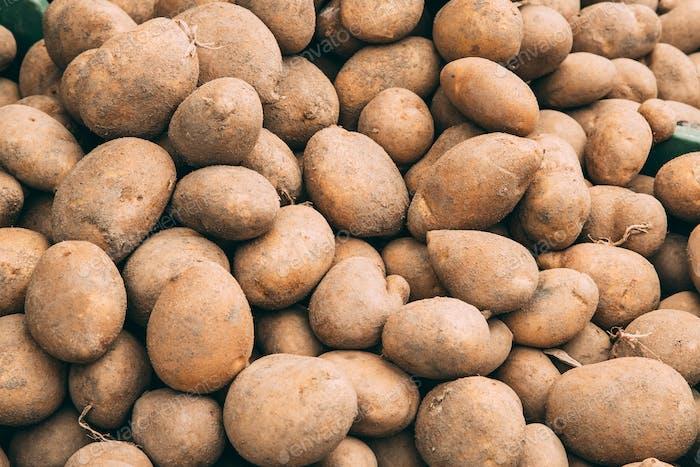 Bio Braunkartoffeln auf dem Agrarmarkt.