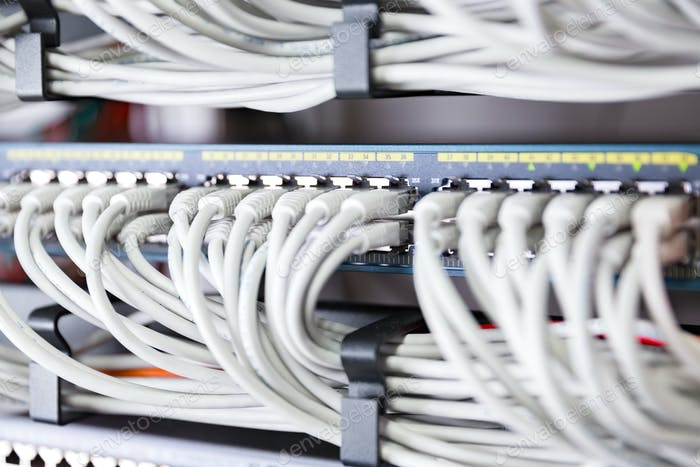 Highspeed network switch and perfect aligned patch cables in datacenter