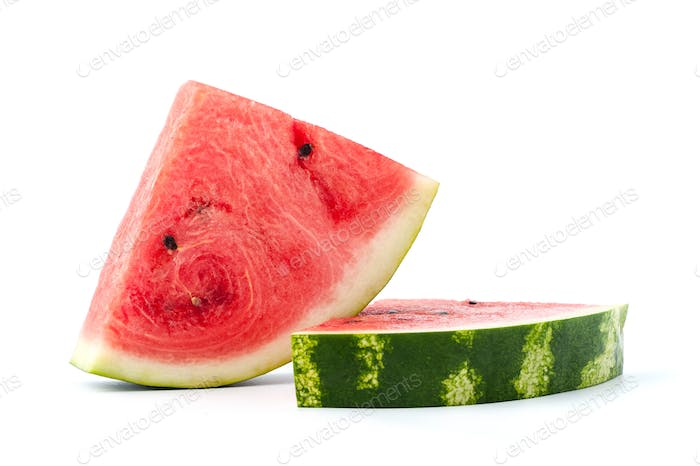 Ripe watermelon on a white background. Isolated.
