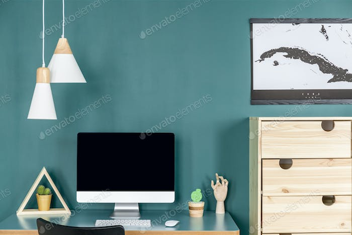 Green home office interior