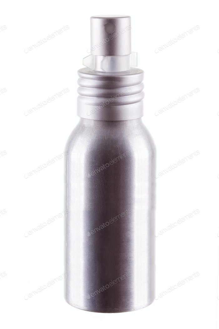 Deodorant aluminium bottle on white background