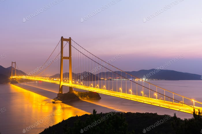 zhoushan xihoumen bridge in nightfall
