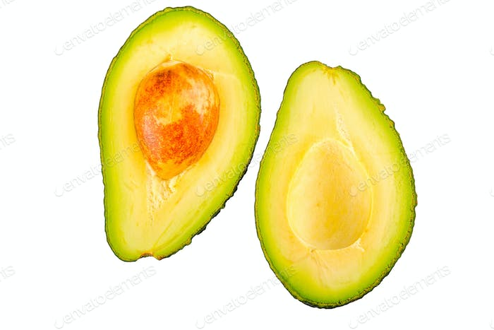 Two half of cut avocado on a white background