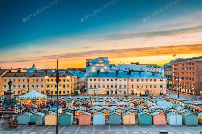 Helsinki, Finland. Christmas Xmas Market On Senate Square In Sun