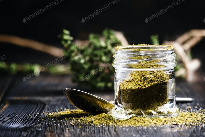 Traditional Caucasian seasoning with herbs and spices, khmeli suneli