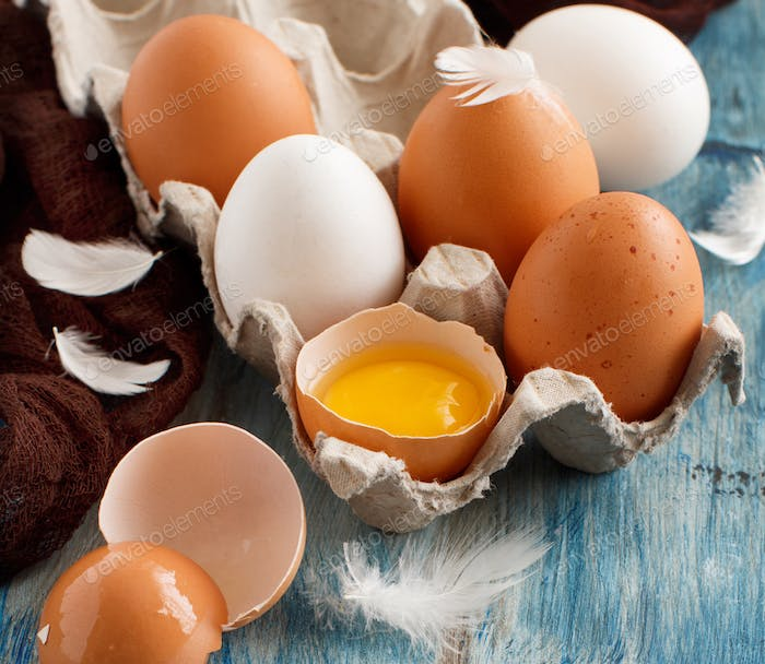 Сhicken eggs in a box on  a blue wooden background