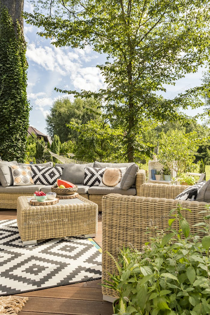 Outdoor terrace with rattan furnitures