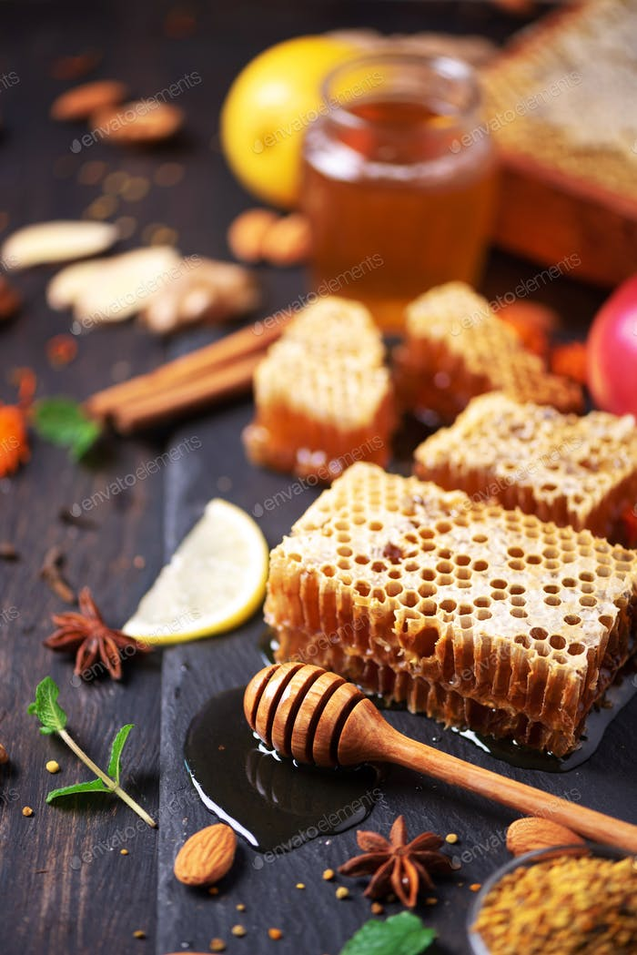 Autumn harvest concept. Set of honey and bee products, apple, lemon, spices on dark background