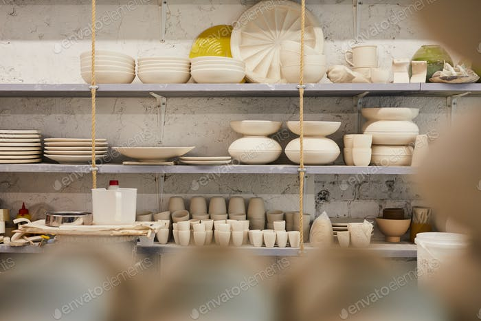 Beautiful dishware on shelves