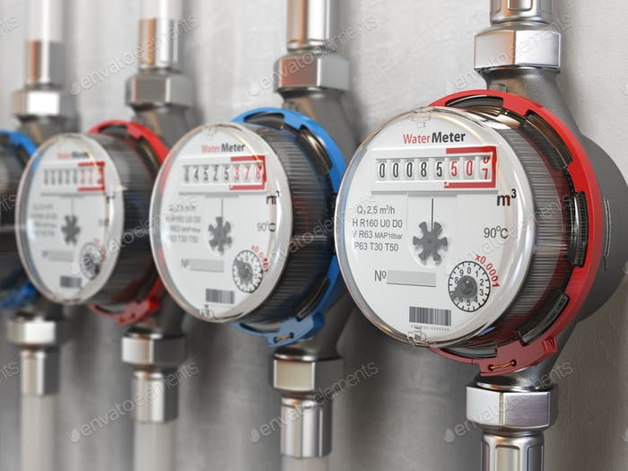 Row of water meters of cold and hot water on the wall background
