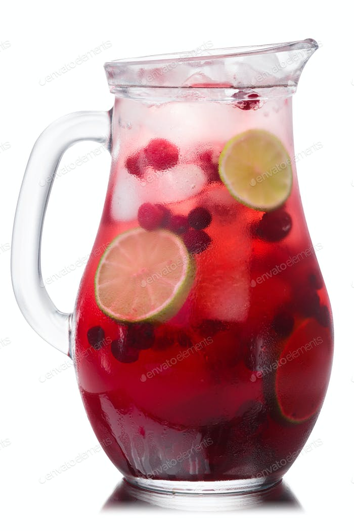 Iced cranberry lime drink pitcher, paths