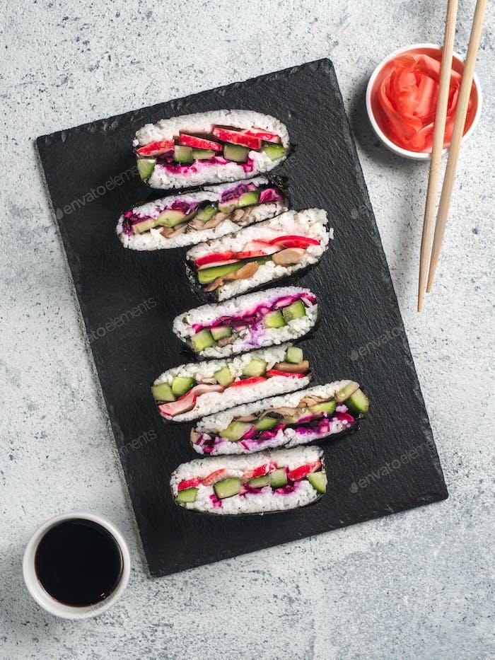 Vegan onigirazu, top view