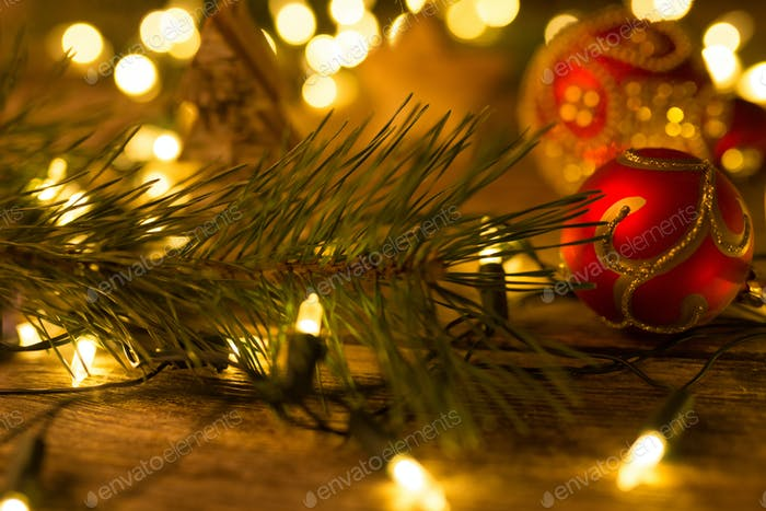 Christmas scene with ornaments