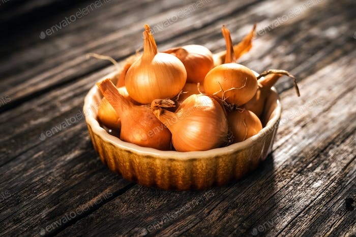 Fresh onion  on wooden table