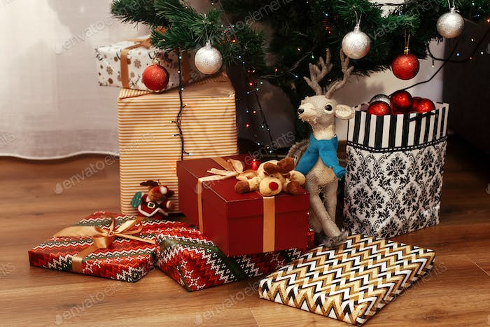 Christmas presents in modern wrapping paper