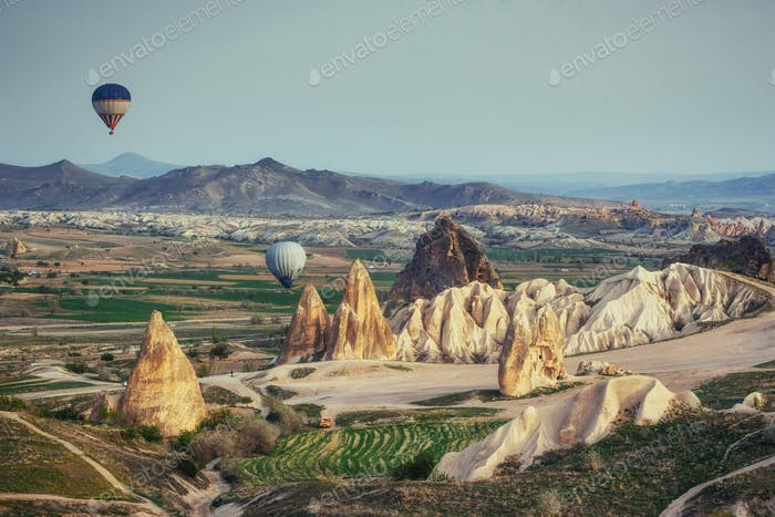 Turkey Cappadocia beautiful balloons flight stone landscape amaz