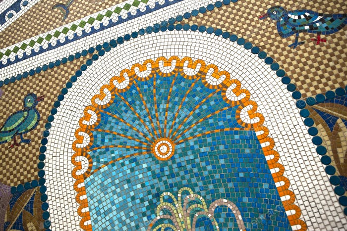 Close up of a vintage mosaic