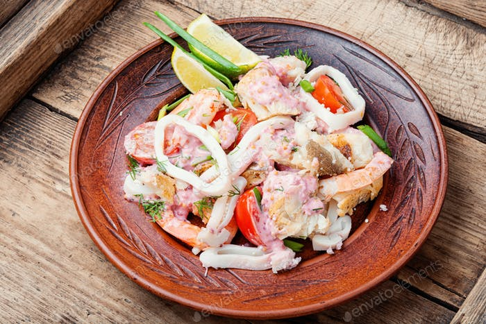 Appetizing seafood salad.