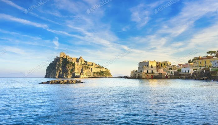 Ischia island and Aragonese medieval castle. Campania, Italy.