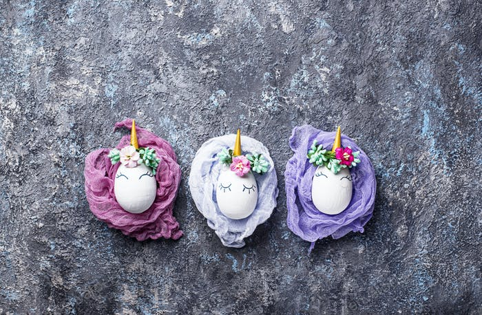 Easter eggs in shape of unicorn