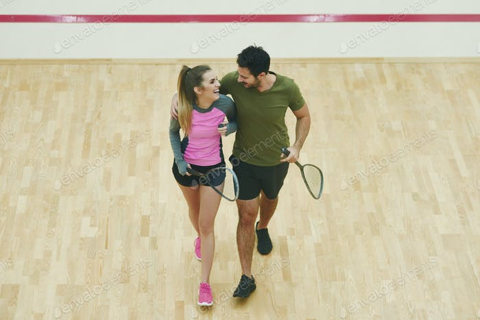 Squash couple flirting after finsished squash game