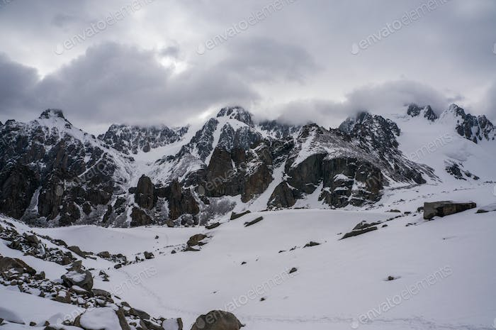 Scenic View of Winter Mountains Landscape, Kyrgyzstan, Ala Archa