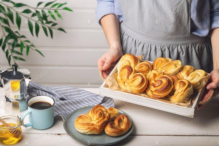 Homemade sweet buns for breakfast