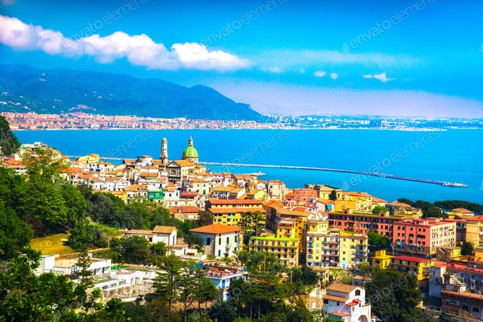 Vietri sul Mare town in Amalfi coast, panoramic view. Salerno It