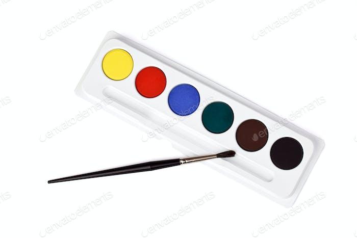 Aquarellfarbe und Pinsel