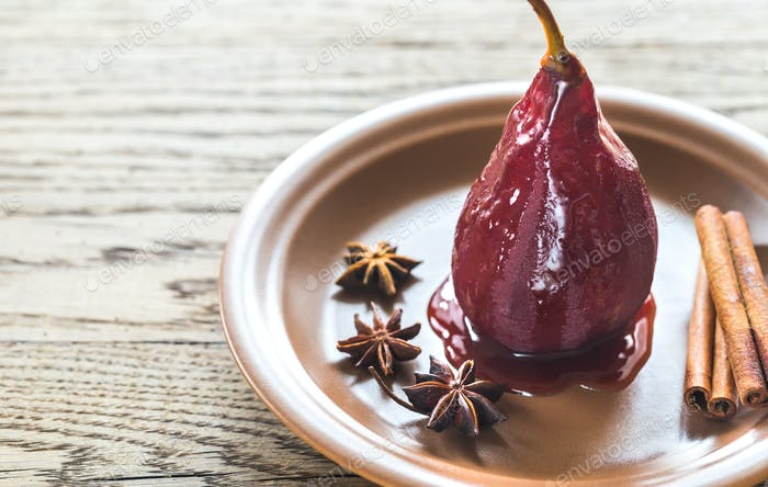 Merlot-poached pears