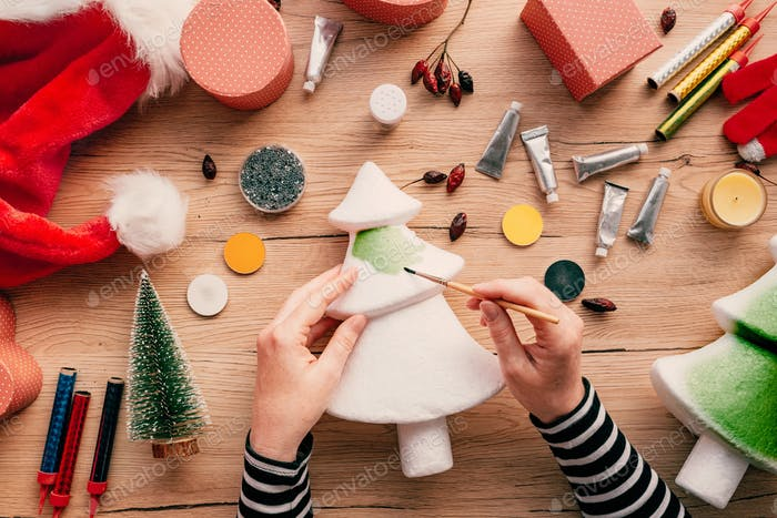 Creative diy craft hobby, making Christmas tree decoration