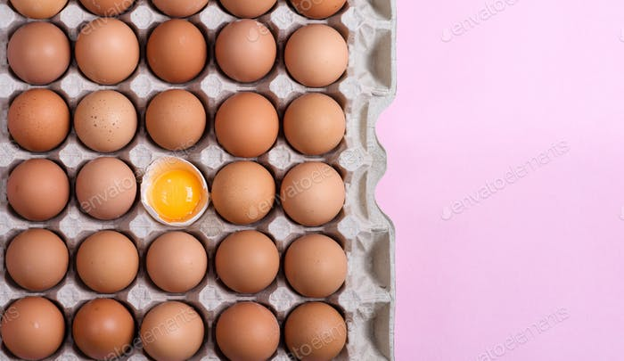 Papercraft eco box with fresh natural chicken eggs and one yolk in a shell on a light pink