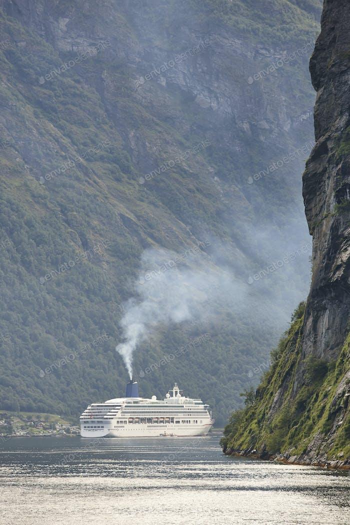 Norwegian fjord landscape. Hellesylt, Geiranger cruise travel. Tourism