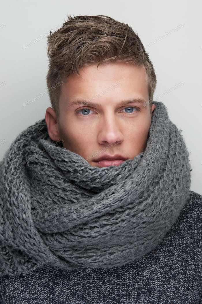 Handsome Man with Wool Scarf
