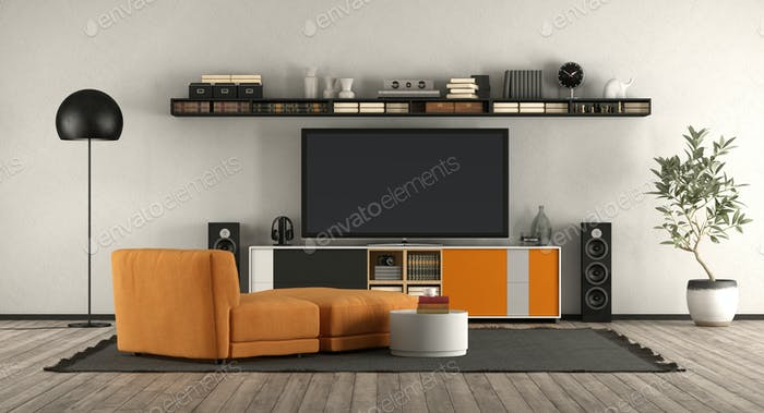 Modern living room with home cinema equipment