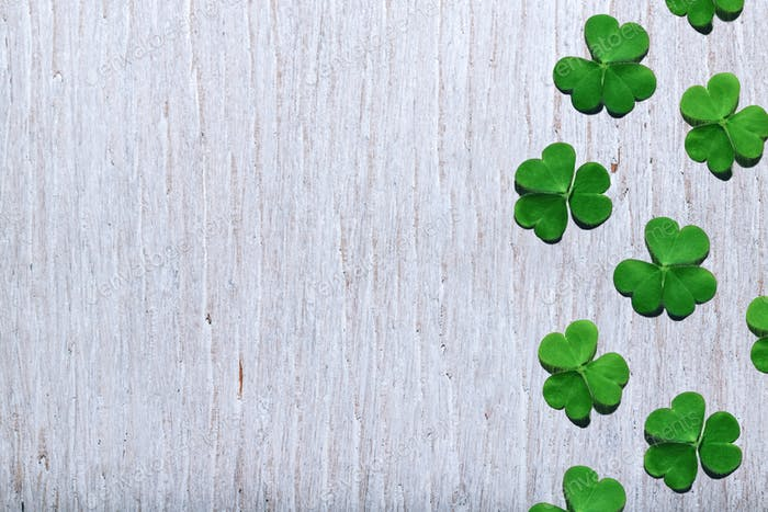 Pattern of shamrock leaves on shabby white wooden background. St. Patrick's Day.