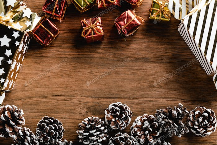 Christmas decoration on wood background and copy space for your text