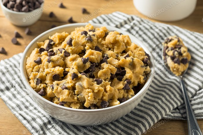 Raw Homemade Chocolate Chip Cookie Dough