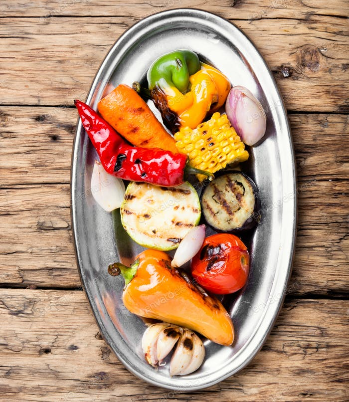 dish with grilled vegetables